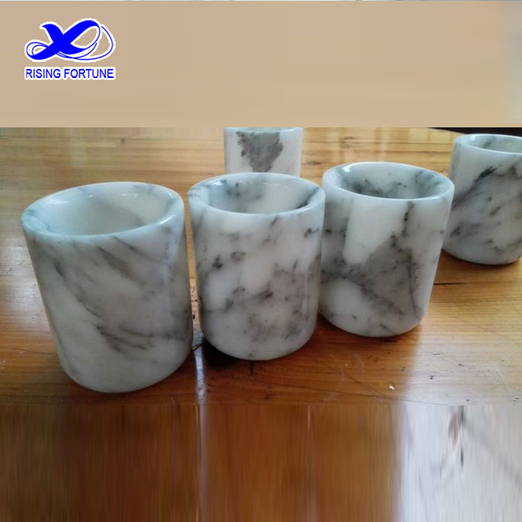 White carrara marble candle holder