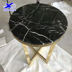 Round marble top coffee table with metal leg