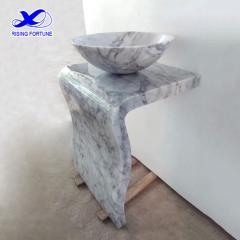 White carrara marble bathroom pedestal sink vanity