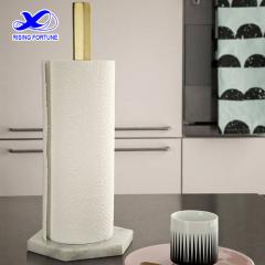 White marble and brass kitchen roll holder