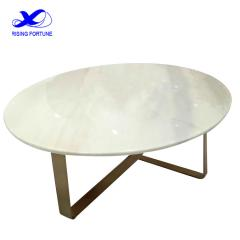 white marble and copper sofa table