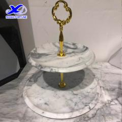 2 tier white marble cake stand wedding