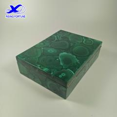 Carved gemstone malachite jewelry boxes