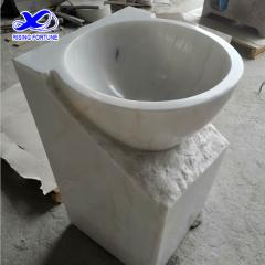 Bathroom white marble pedestal sink