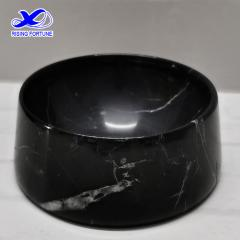 Custom black marble pet bowls