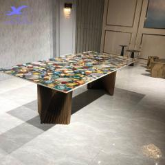 Luxury gemstone agate stone furniture dining table with rose gold leg