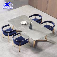 Italian light luxury sintered stone table with chairs